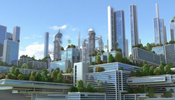 3D futuristic green city.